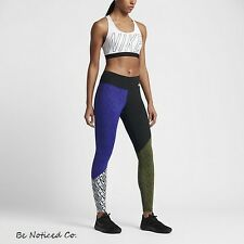Nike Power Legendary Women's Printed Training Tights XS Blue Black Green Multi