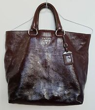 Authentic PRADA Milano Women's Brown Patent Leather Tote Handbag Made in Italy