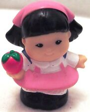 Fisher Price Little People Asian Girl in Pink Dress w/Apple