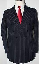 William Fioravanti Bespoke Blue Striped Double Breasted Wool Topcoat Blazer 36 R
