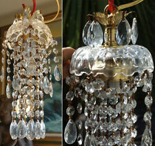1 SWAG hanging Lamp Chandelier brass crystal glass Vintage lighting corridor