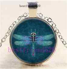 Steampunk dragonfly Cabochon Glass Dome Silver Chain Pendant Necklace