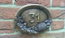 Hedgehog Oval Cold Cast Bronze Wall Plaque, Door Number.