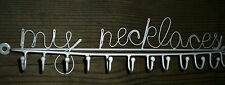 MY NECKLACES DISPLAY HOLDER SHABBY VTG CHIC CREAM METAL JEWELLERY 12 WALL HOOK