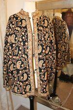 Vintage kashmiri black gold hand embroidered jacket - Ditsy Vintage - M Crewel
