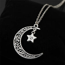 New Stylish Silver Hollow Crescent Moon Crystal Star Pendant Long Chain Necklace