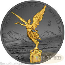 2015 1 oz Silver Coin - Golden Enigma Mexican Libertad - Ruthenium Gold Plated