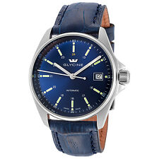 Glycine Men's 3916.18S LBK8 Combat 6 Automatic 36mm Blue Dial Blue Leather Watch