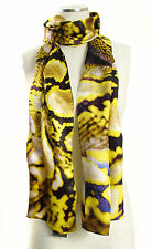 ECHO Design 100% Silk Python Snake Print Long Rectangle Scarf - Yellow $88