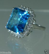 VINTAGE SILVER PLATED LARGE BLUE RHINESTONE & CRYSTAL COCKTAIL RING SIZE 6,5