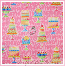 BonEful Fabric Cotton Quilt Pink Happy Birthday GIRL Cup*Cake Party Table SCRAP