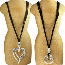 Two different lagenlook style large silver twisted & heart pendant necklace
