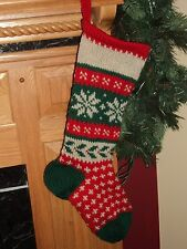 SNOWFLAKE Christmas Stocking -Hand Knit - 100% Wool - Can be Personalized