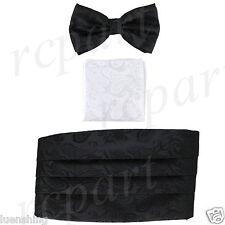 New In Box Brand Q Paisley Cummerbund Bowtie Hankie Set Wedding Prom Black White