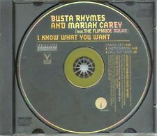 """MARIAH CAREY / BUSTA RHYMES """"I Know What You Want"""" USA PROMO CD SINGLE"""