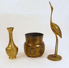 3 Vintage Brass Egret Carved Vase Small Pot Middle Eastern  Oriental Decor