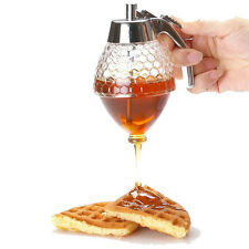 Acrylic Transparent Glass Honey Syrup Dispenser with Stand Honeycomb Bee Hive