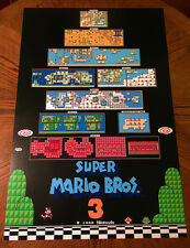 "Super Mario Bros 3 NES worlds map huge video game 36"" poster print nintendo 80s"
