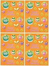 4 Sheets Happy Birthday Tea Party Cups Pot Flowers Scrapbook Stickers!