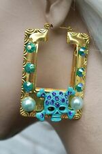 BLUE SKULL DOOR KNOCKER GOLD TONE CREOLE HOOP LARGE FASHION EARRINGS