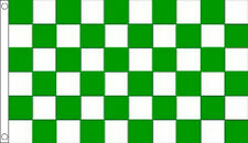 3' x 2' Green and White Check Flag Chequered Checkered Sports Club Team Banner