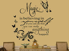 "Living Room/Bedroom DIY Wall Art Sticker/Decal Quote ""Magic is Believing"""