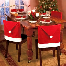 4Pcs Santa Red Hat Chair Covers Christmas Decor Dinner Chair Xmas Cap Gift