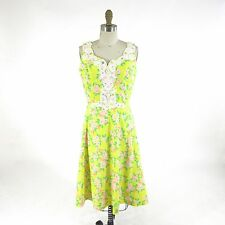 8 - Lilly Pulitzer Vintage Yellow Pink Floral Lace Applique Sun Dress 0000MB