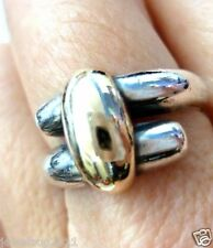 James Avery RARE Bypass 14kt Gold/.925 Overlap Ring Retired in JA Box