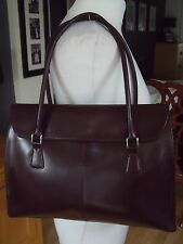 DESIGNERS @ DEBENHAMS GLOSSY CONKER BROWN LEATHER TOTE KELLY BAG