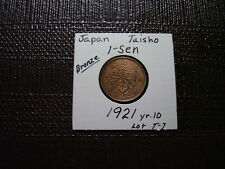 Rare Date From Old Japan 1 Sen 1921  yr.10  *Bronze Nice  Closeout Sale Lot  T-7