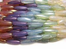 8x22mm Gemtone Opal Luster Czech Glass Elongated Oval Beads (5) #4547