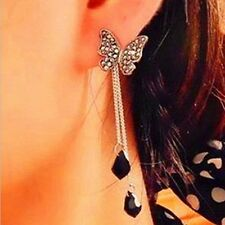 BUTTERFLY BLACK CHAIN TASSEL DROP EARRINGS studs with ear jackets tassels dangle