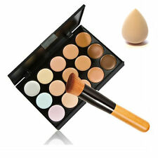 15 Color Contour Face Makeup Concealer Palette Sponge Puff Powder Brush Set BY