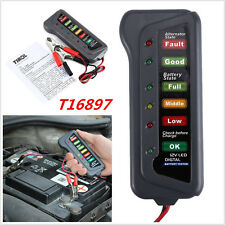 12V Car Motorcycle Digital Battery Alternator Tester 6 LED Display Battery Test