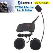 1200M Bluetooth Interphone BT Motorbike Helmet Intercom V6 Headset for 6 Riders