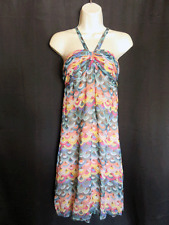 Tibi Dress Halter Sleeveless Colorful Sheer Stretchy Silk Size 2