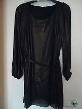 Black/gold fine shimmer chiffon long sleeved ladies tunic tie belted  size 28