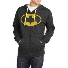 Batman Men's Zip Front Fleece Hoodie, Black, X-Large