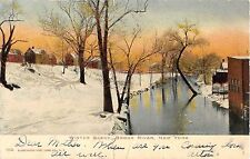 1906 Distant Homes Bronx River in Winter Bronx NY post card