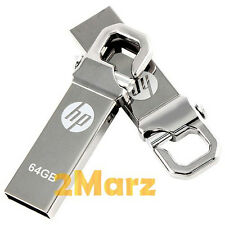 HP v250w 64GB 64G USB Flash Pen Drive Storage Memory Stick Hook Clip Lock Metal