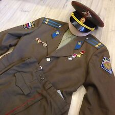 Vintage Russian Soviet army and police KGB uniforms jacket+hat+pants