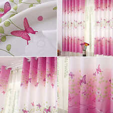 Pair of Pink Butterfly Eyelet Ring Top Ready Made Curtains Kids Bedroom Room New