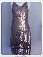 ✨NEW LOOK Sequin Midi Dress Grey Silver Racer Back UK 12 EU 40 £60 FAST��✨