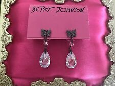 Betsey Johnson Vintage Crystal CZ Drop Pewter Tiny Butterfly Earrings VERY RARE