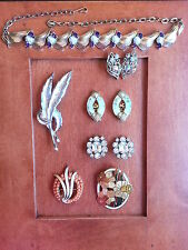 MIXED LOT OF 10 SIGNED CORO TRIFARI LA REL PURPLE RS NECKLACE BROOCHES EARRINGS