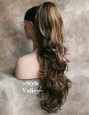 Brown Mix w/ Blonde Ponytail Hairpiece Extension Clip in/on LONG Hair Piece