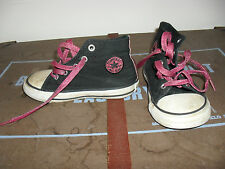 Black Converse All Stars With Pink Glitter Detail and Laces. Size 8