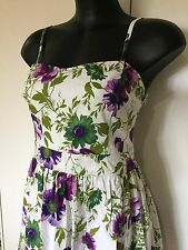 Size 14 Smart Flattering Purple Floral Cotton Dress - Vintage Feel - Portmans