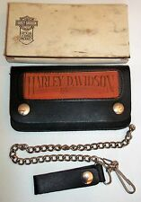 "Harley-Davidson Wallet Black Leather With Chain 3.5"" t x 6.25"" w"